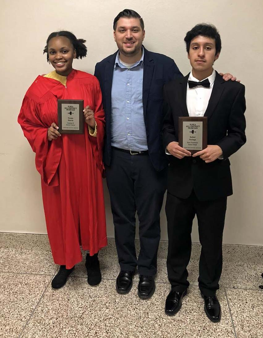 Neema Morris, Mr Harding and Rafael Noriega pose with their awards.