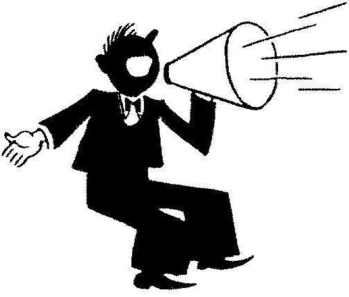 Icon of man speaking in a loudspeaker.