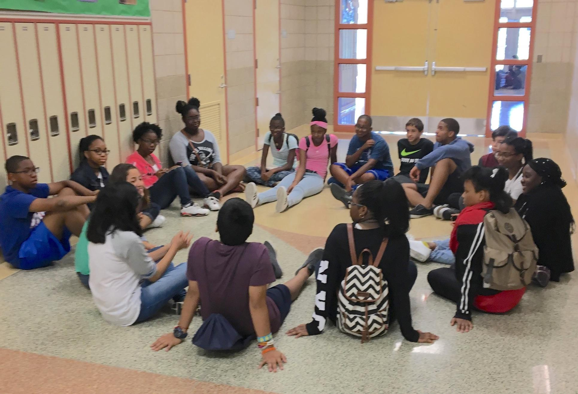 Students sitting during Summer icebreaker for Freshman Connect.