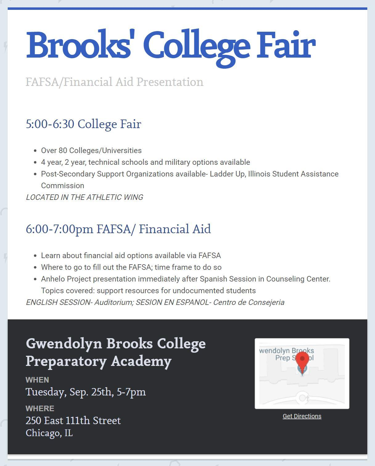 Brooks College Fair Evening! | Gwendolyn Brooks College Prepatory ...