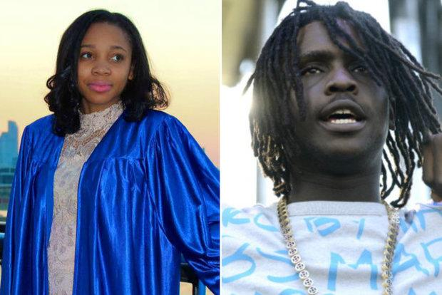 Photo composition with Moriah Down in graduation garb on the left and Chief Keef on the right.