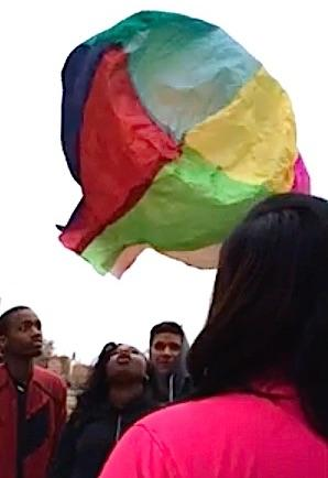 Students with their hot air balloon.
