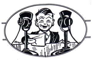 Clip art of announcer.