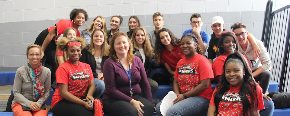 Photo of the French students and teacher with some of their chaperones, Ms. Cagney and Principal Jackson.