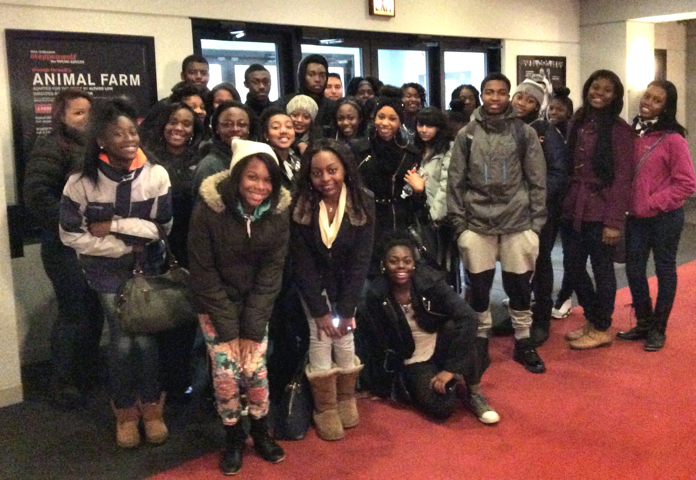 Photo of students at Steppenwolf to watch Animal Farm.