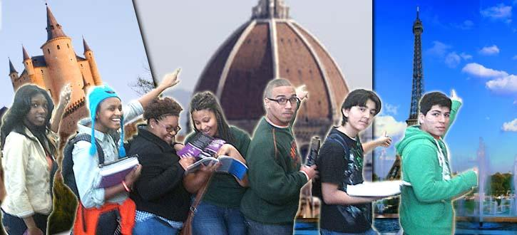 Photo composition of students in front of monuments from Spain, Italy and France.