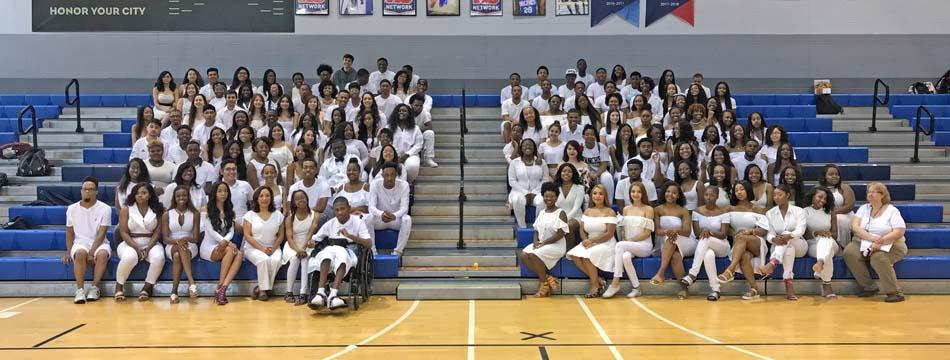 All White photo of Seniors 2018.