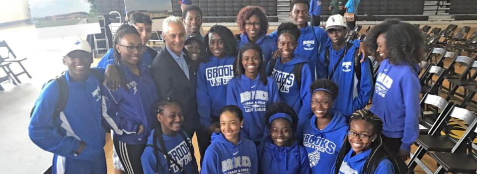 Brooks Lady Eagles with Mayor Emmanuel.