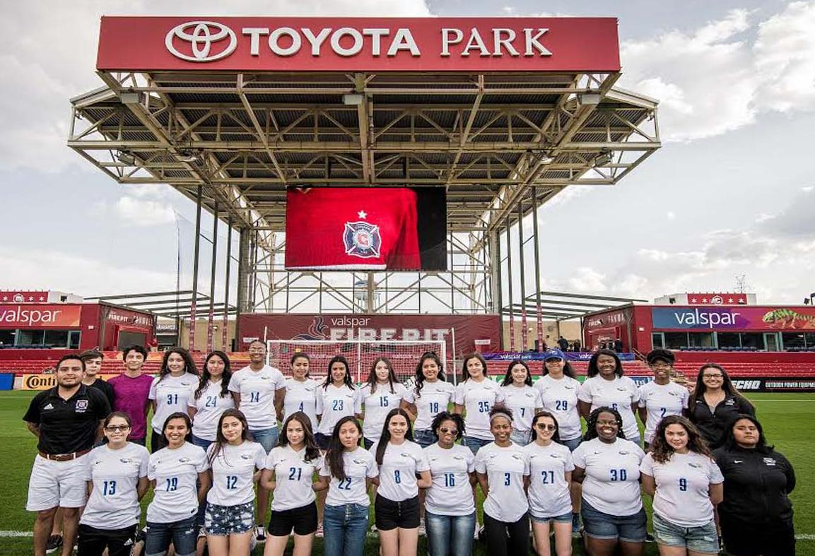 Lady Eagles Soccer Team at Toyota Park, May 9, 2018