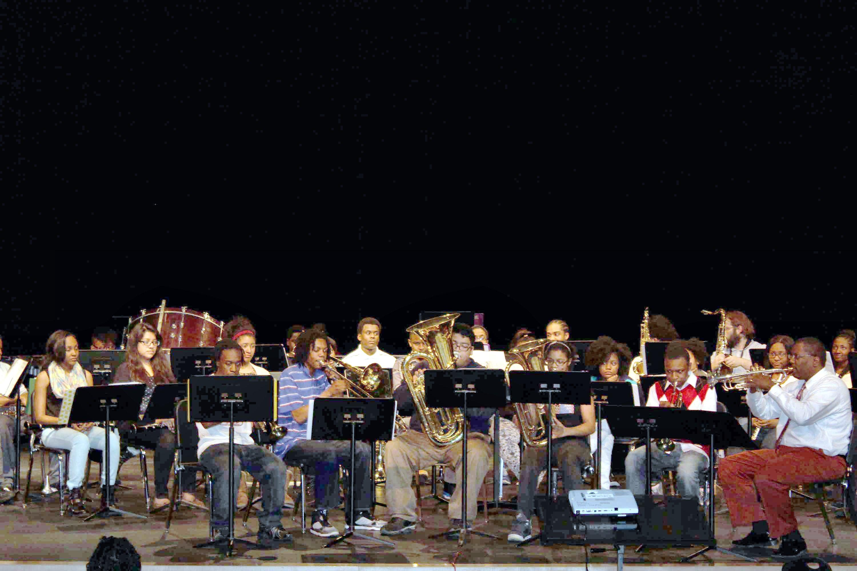 Photo of band playing.