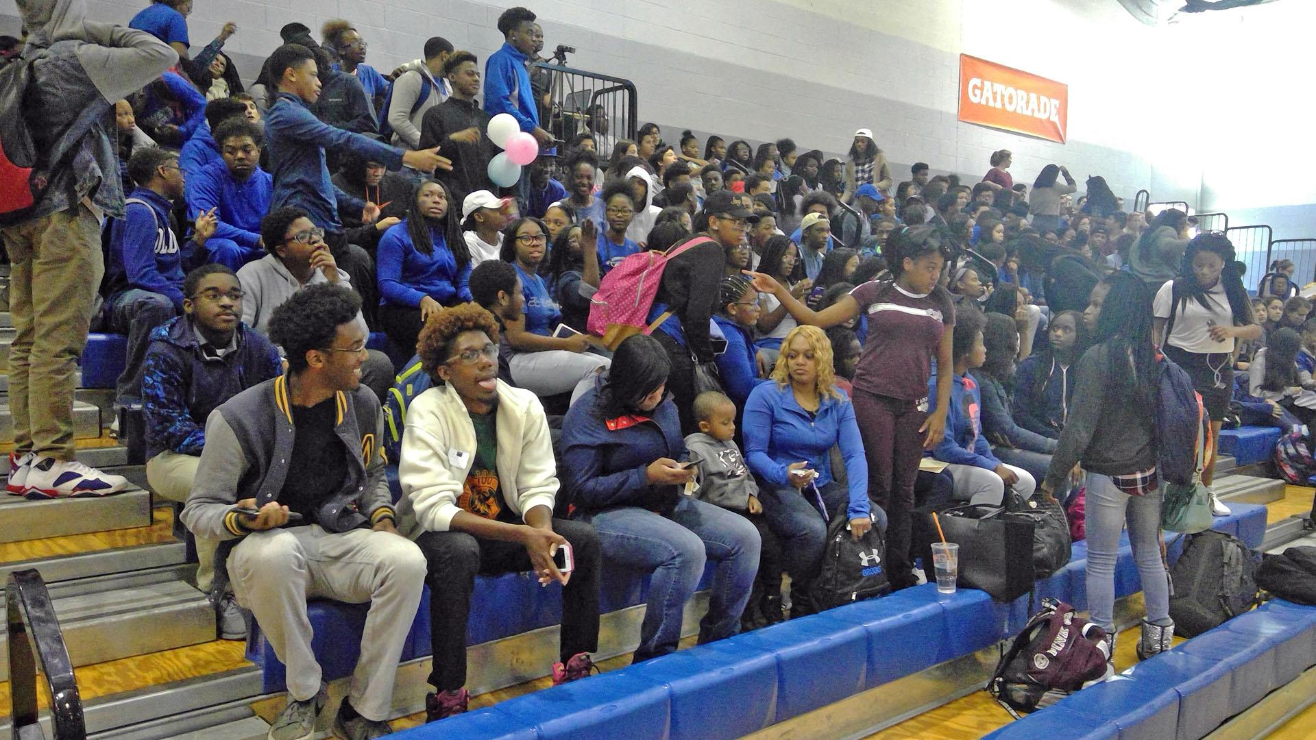 Students sitting during 2016 Brooks Pep Rally