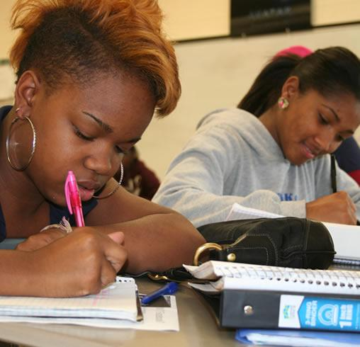 Photo of students writing.